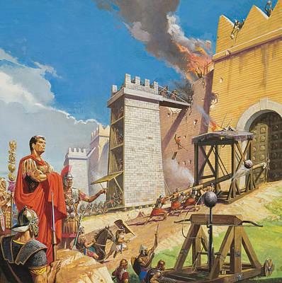 Assault On Carthage Print by Severino Baraldi