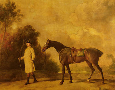Man And His Horse Painting - Assheton, First Viscount Curzon, And His Mare Maria by George Stubbs
