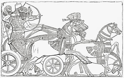 Ancient Civilization Drawing - Assyrian War Chariot. From The Imperial by Vintage Design Pics