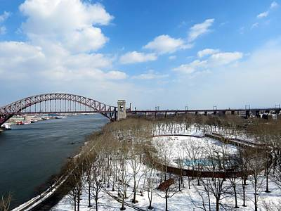 Astoria Park Queens Ny Hell Gate Bridge Print by Kenneth Summers