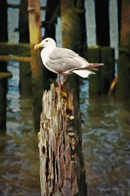 Seagull Painting - Astoria Waterfront, Scene 2 - Post Posing by Jeff Kolker