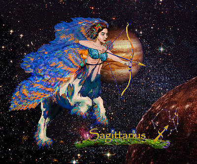 Centaur Mixed Media - Astrology Sagittarius Angel  by Michele Avanti