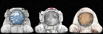 Astronaut Triptych Print by Tharsis Artworks