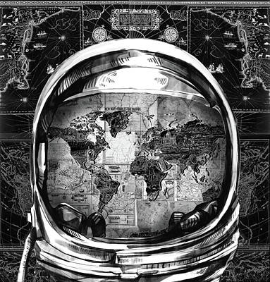 Diving Helmet Painting - Astronaut World Map 1 by Bekim Art