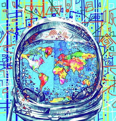 Planetary System Digital Art - Astronaut World Map 2 by Bekim Art