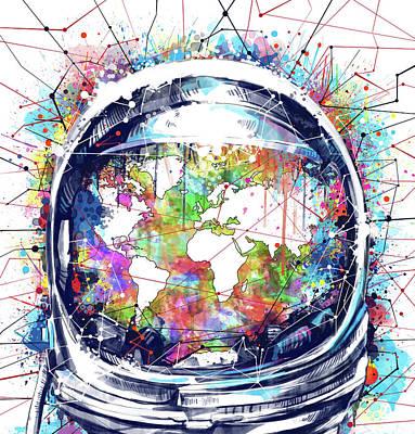 Planetary System Digital Art - Astronaut World Map 6 by Bekim Art