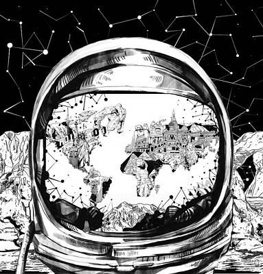Planetary System Digital Art - Astronaut World Map 8 by Bekim Art