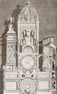 Notre Dame Drawing - Astronomical Clock In Notre Dame by Vintage Design Pics