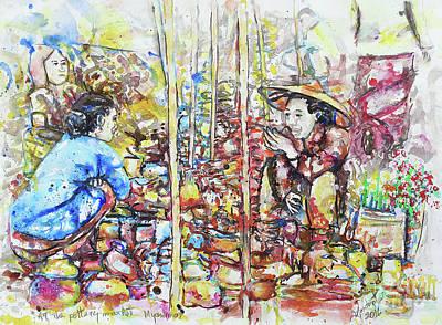 At A Pottery Market, Myanmar Original by Gordon Tardio