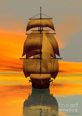 At Full Sail Print by Sandra Bauser Digital Art