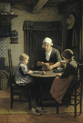 Adolph Painting - At Grandmother's by Adolph Artz