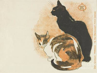 Cat Painting - At La Bodiniere by Theophile Alexandre Steinlen
