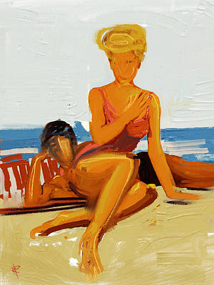 Couple Mixed Media - At The Beach by Russell Pierce