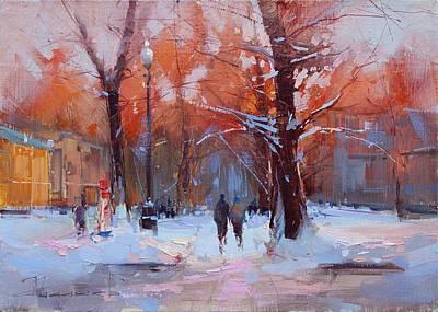 At The Dawn Of The Tversky Boulevard Original by Alexey Shalaev