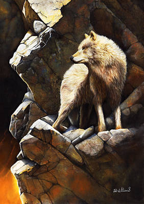 Wolf Drawing - At The Edge Of Time by Peter Williams