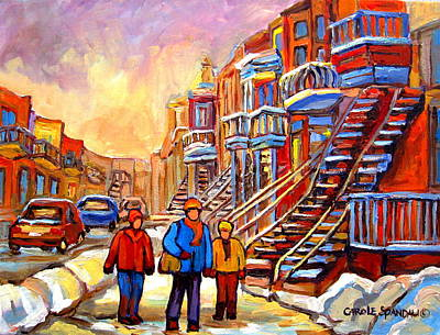 Montreal Winter Scenes Painting - At The End Of The Day by Carole Spandau