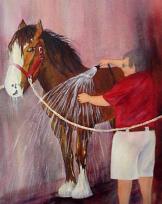 Horse Painting - At The End Of The Day In Charleston by Rosie Phillips