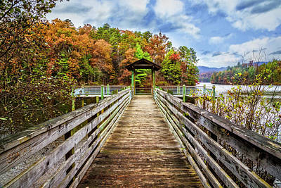 At The End Of The Dock Print by Debra and Dave Vanderlaan