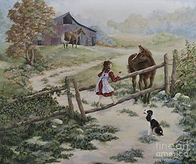Holly Hocks Painting - At The Farm by Kathleen Keller