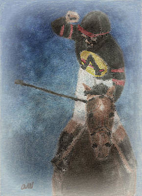 Equine Digital Art - At The Finish Line by Arline Wagner