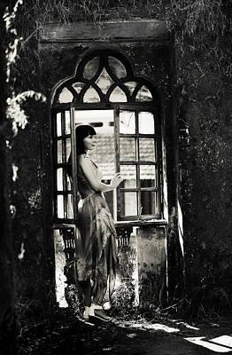 Abandoned Houses Photograph - At The Gothic Window. Old Margao. Goa. India by Jenny Rainbow