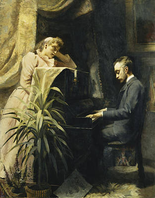 Woman Playing Piano Painting - At The Piano by Emma Sparre