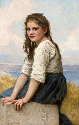 William-adolphe Bouguereau Painting - At The Seaside by William-Adolphe Bouguereau