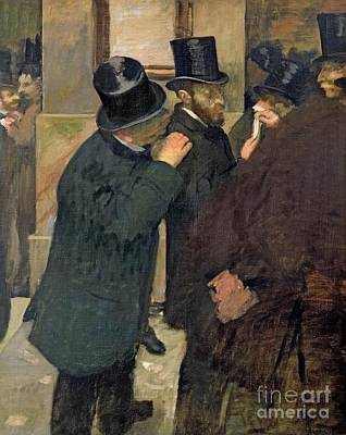 Finance Painting - At The Stock Exchange by Edgar Degas