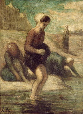Laundry Painting - At The Water's Edge by Honore Daumier