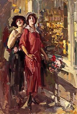 At The Window Print by Konstantin Korovin