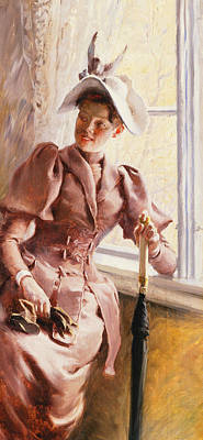 Lapel Painting - At The Window by Paul Fischer
