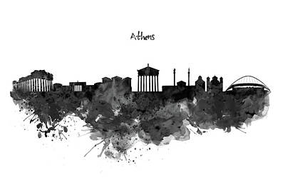 Greece Digital Art - Athens Black And White Skyline by Marian Voicu