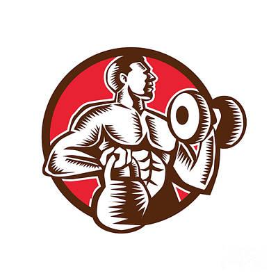 Athlete Lifting Kettlebell Dumbbell Circle Woodcut Print by Aloysius Patrimonio