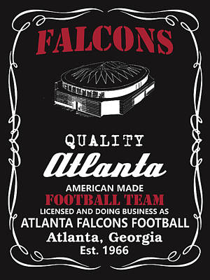 Falcon Mixed Media - Atlanta Falcons Whiskey by Joe Hamilton