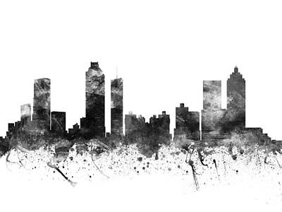 Towns Drawing - Atlanta Georgia Cityscape 02bw by Aged Pixel