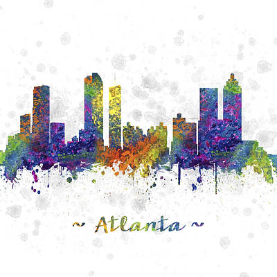 Towns Drawing - Atlanta Georgia Skyline Color 03sq by Aged Pixel