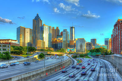 Atlanta Postcard Downtown Atlanta Sunset Art Atlanta Georgia Print by Reid Callaway