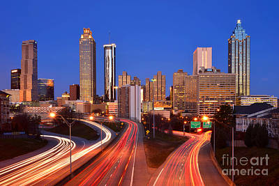 Atlanta Skyline In Morning Downtown Light Trails Color Print by Jon Holiday