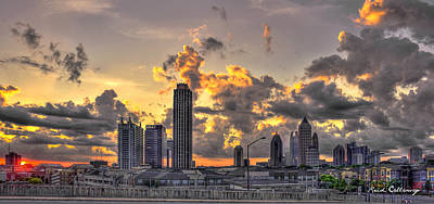Atlanta Sunrise On Atlantic Station Commons And Midtown Atlanta Print by Reid Callaway