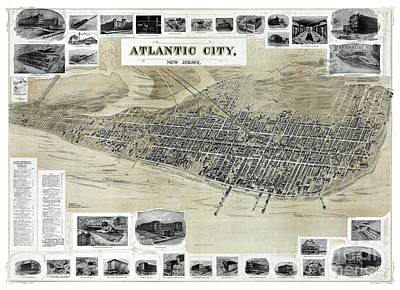 Vintage Map Painting - Atlantic City - New Jersey - 1900 by Pablo Romero