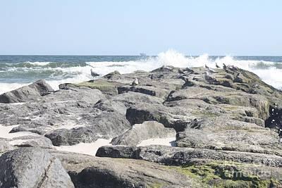 Photograph - Atlantic Ocean Rolling Over Long Beach Jetty by John Telfer