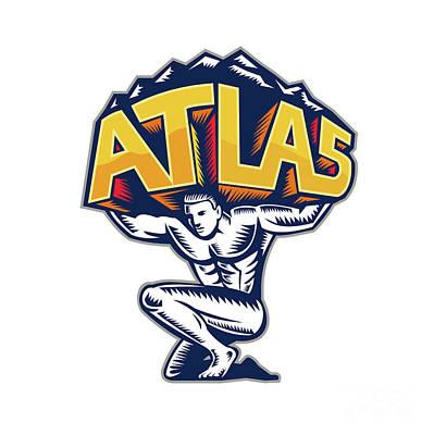 Atlas Lifting Mountain Kneeling Woodcut Print by Aloysius Patrimonio