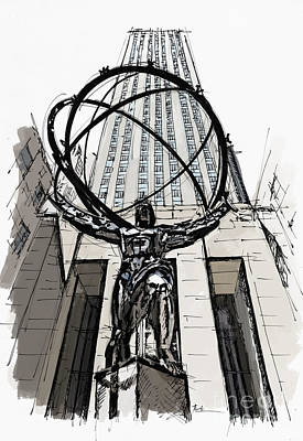 Atlas Sculpture Sketch In New York City Print by Pablo Franchi