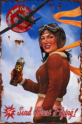 Atom Digital Art - Atom Bomb Cola Send Thirst Flying by Steve Goad