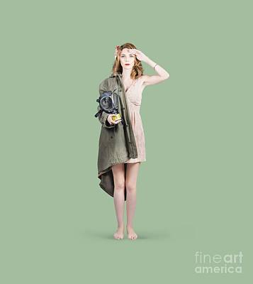 Attractive Young Australian Army Pinup Woman Print by Jorgo Photography - Wall Art Gallery
