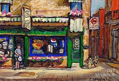Depanneur Painting - Au Coin Duluth Depanneur Painting Plateau Mont Royal Cafe City Scene Best Original Art For Sale by Carole Spandau