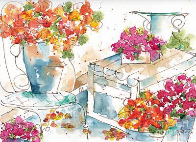 Sepia Ink Painting - Au Nom De La Rose by Pat Katz