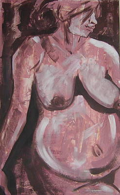 Nude Children Drawing - Aubergine Mother And Child by Joanne Claxton