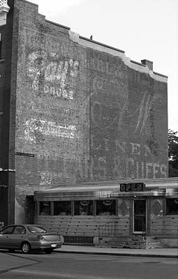 Auburn, Ny - Diner And Ghost Mural Bw Print by Frank Romeo
