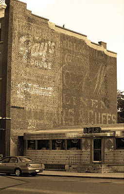 Auburn, Ny - Diner And Ghost Mural Sepia Print by Frank Romeo